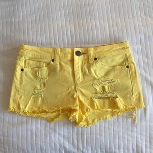 Dittos Yellow Ripped Short Shorts Canvas Denim